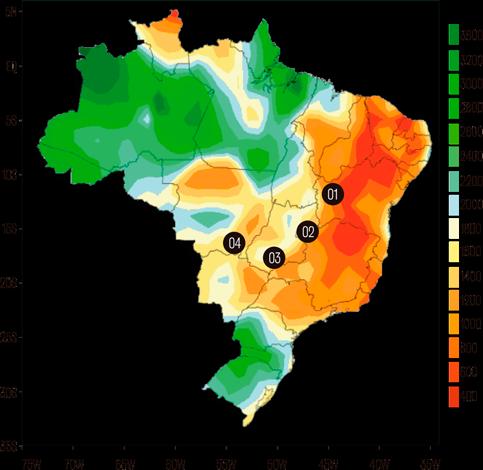 Mapa de índice pluviométrico